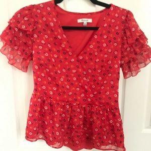Madewell floral peplum blouse - red metallic